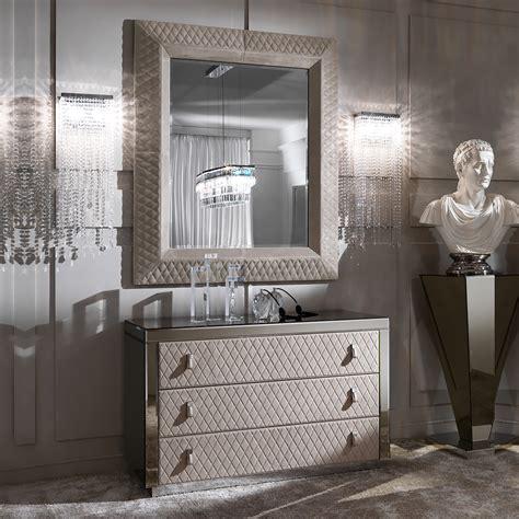 high end italian mirrored nubuck drawers and mirror set