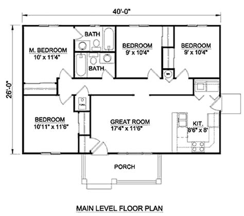 Traditional Style House Plan  4 Beds 200 Baths 1040 Sq