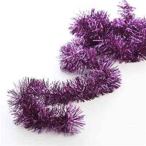 metallic purple tinsel garland christmas garlands