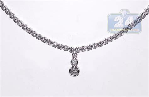 womens diamond drop  shape tennis necklace  white gold