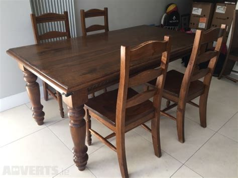solid antique pine dining table 4 chairs for sale in lucan
