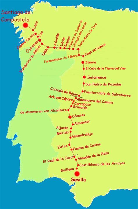 camino de santiago percorso mappa cammino di santiago routa de la plata