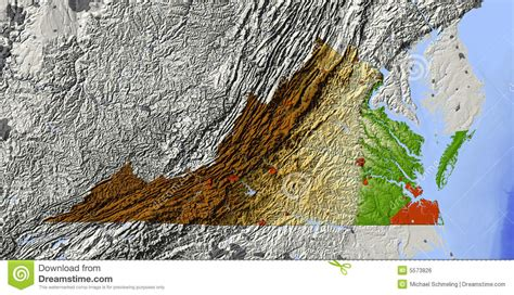 virginia shaded relief map stock illustration