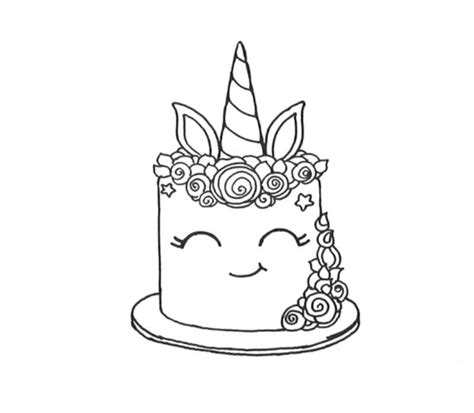 smiling unicorn cake coloring pages  printable
