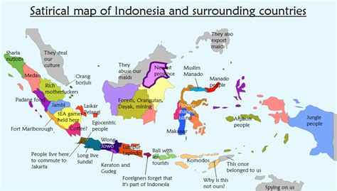 satirical map  indonesia   surrounding countries