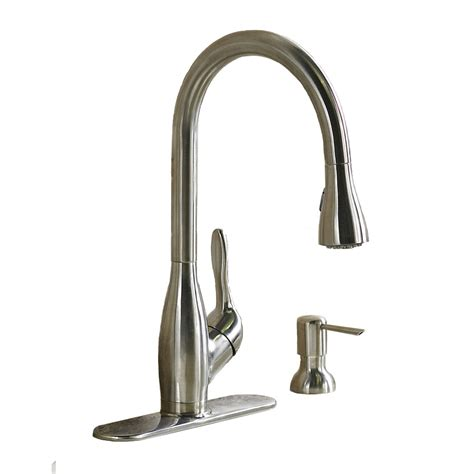 kitchen faucets stainless steel shop aquasource stainless steel pull kitchen faucet