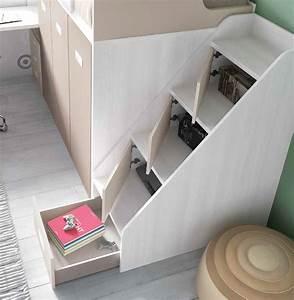 Lit Superposé Escalier : lit superpos avec escalier et rangement glicerio so nuit ~ Premium-room.com Idées de Décoration