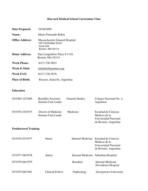 Med School Student Resume by Harvard School Curriculum Vitae Date Prepared 10