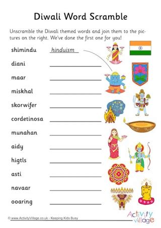 diwali vocabulary printables