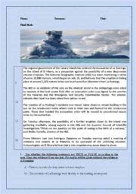 Volcanoes Worksheets