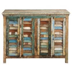 Buffet en bois recycle multicolore l 120 cm calanque for Maison du monde calanque