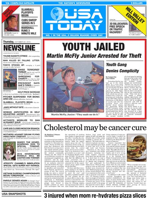 Usa Today Publishes Back To The Future Part Ii Newspaper Front Page Peoplecom