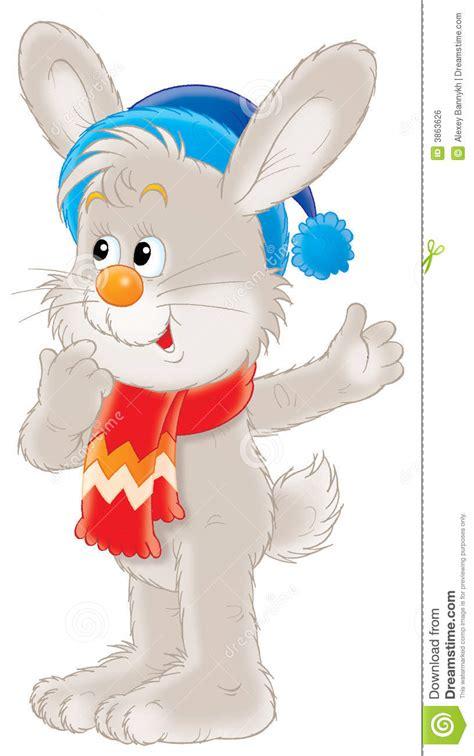 winter rabbit illustration royalty  stock image