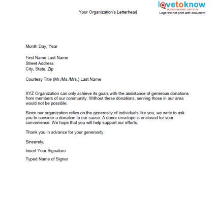 fundraising letter template sles of non profit fundraising letters lovetoknow