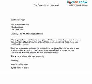 samples of non profit fundraising letters lovetoknow With letter to charity with donation of money