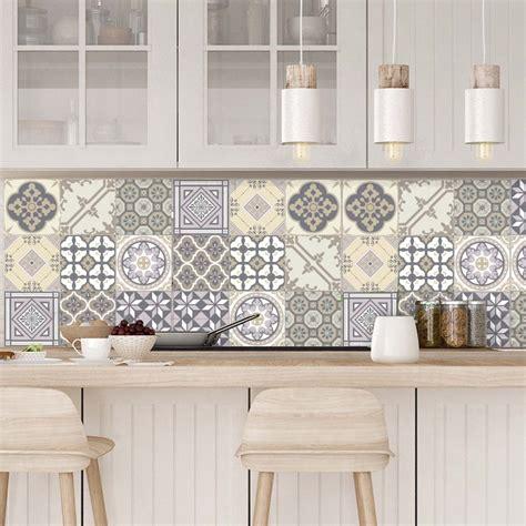revetement mural cuisine credence 9 stickers carreaux de ciment chêtre et design artistiques ambiance sticker