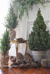 Use pine cones and small pine trees in burlap wrapped pots