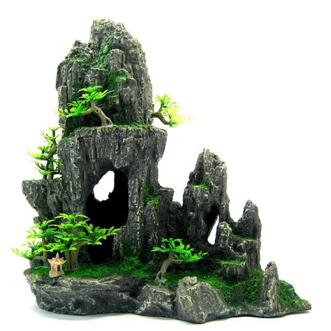 mountain view aquarium ornament tree 29x15x28 5cm rock cave house decoration ebay