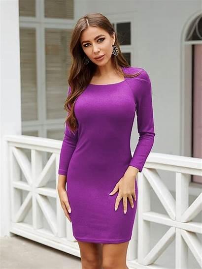Bodycon Dresses Purple Comfortable Knit Solid Tight