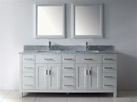 Inch Double Sink Bathroom Vanity With Marble Top In
