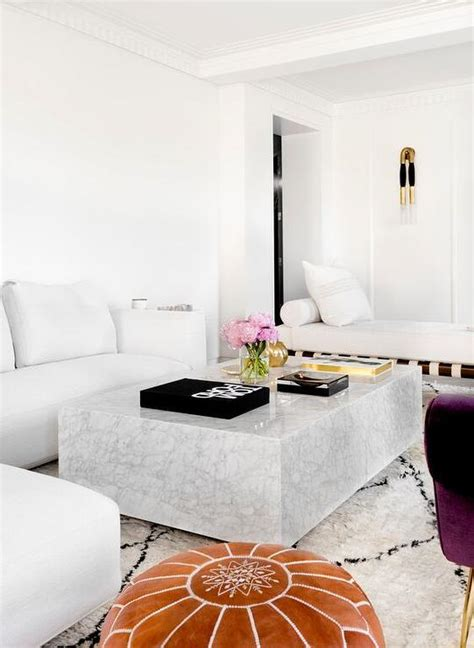 white marble living room table white modern sectional with marble block cocktail table