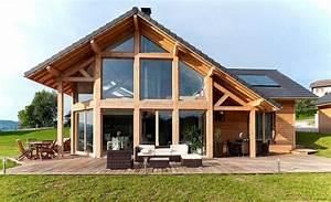 une maison bois en poteaux poutres et verre aux With maison bois et paille 4 poteaux poutres et paille