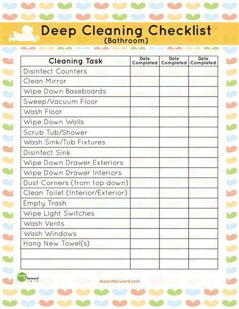 printable bathroom deep cleaning list mom  forwardmom