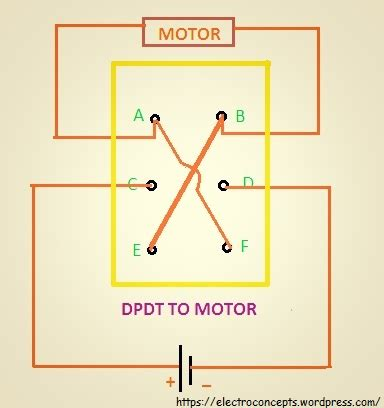 how to a dc motor using dpdt switch