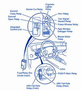 Honda Prelude 1999 Steering Fuse Box  Block Circuit Breaker Diagram  U00bb Carfusebox