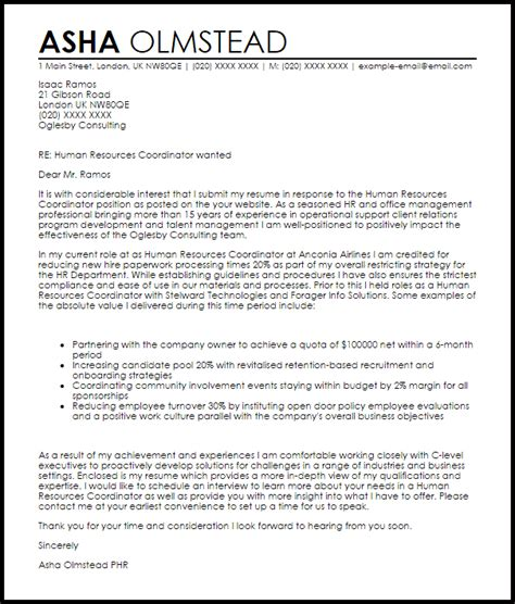 Human Resource Coordinator Cover Letter Sample