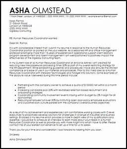 human resources coordinator cover letter sample livecareer With cover letter for human resource coordinator