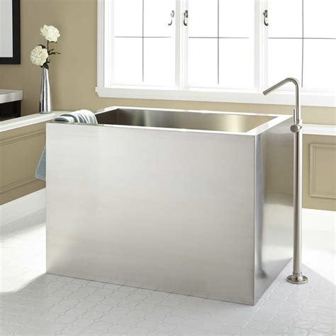soaking tub 48 quot amery brushed stainless steel soaking tub bathroom