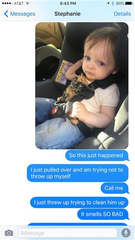 dads texts  wife  toddler vomits  viral