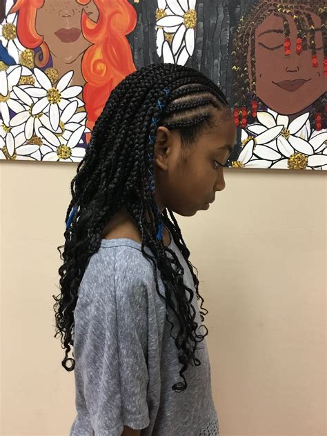 kids cornrows with box braids and styling string