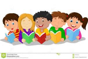 Cartoon Children Reading Books
