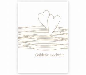 Glückwunschkarten Zur Goldenen Hochzeit : elegante gl ckwunschkarte mit herzen zur goldenen hochzeit grusskarten onlineshop ~ Frokenaadalensverden.com Haus und Dekorationen