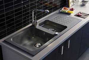 evier gris clair cheap de cuisine vier de synthse gris With salle de bain design avec evier granit gris 2 bacs