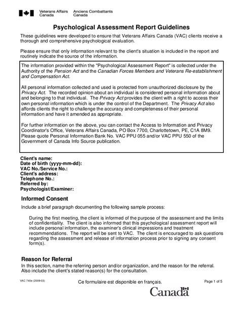 psychological assessment report