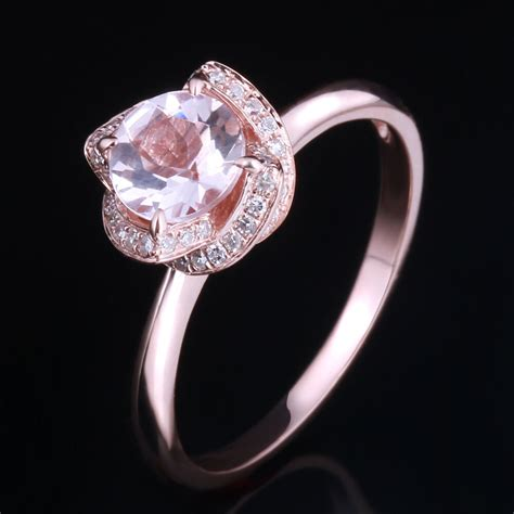 diamonds  rose gold mm  cut halo pink morganite