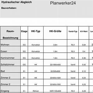 Fußbodenheizung Berechnen : planwerker24 hydraulischer abgleich verfahren a berechnen ~ Themetempest.com Abrechnung