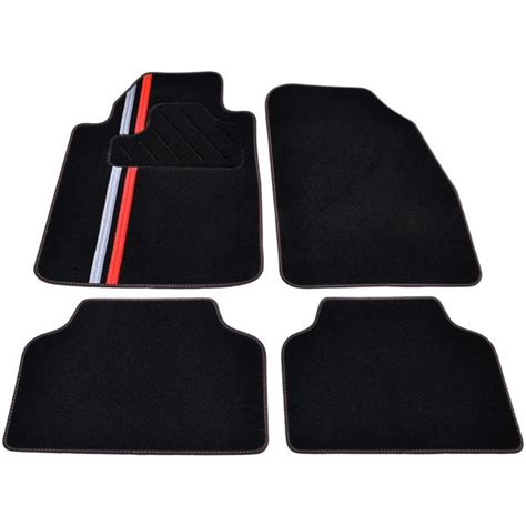 tapis voiture universel moquette noire ganse textile