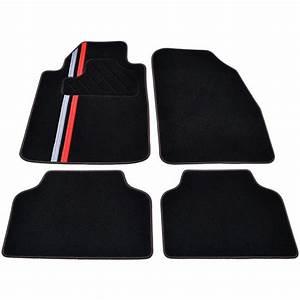 tapis voiture universel moquette noire ganse textile With tapis auto rouge
