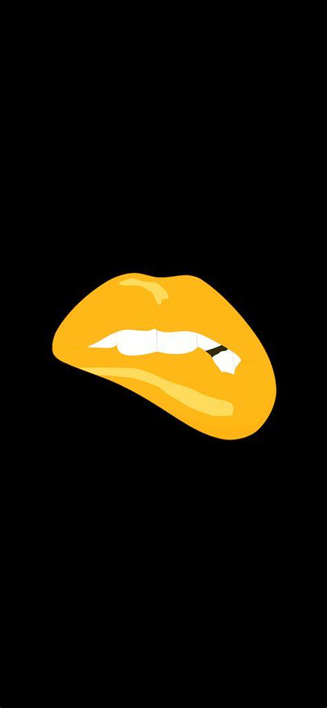 ae biting lips gold black background minimal art wallpaper