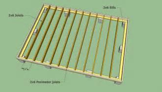 storage shed floor joists remise en l storage cabin and decking