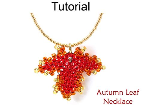 Leaf Necklace Jewelry Making Tutorial Beading Pattern Maple Leaves Diagonal Peyote Fall Autumn Rose Gold Jewelry Pinterest Rhinestone Ebay Vintage Barcelona Canada Quote West Hollywood Rotterdam