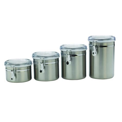 stainless steel canisters anchor hocking 4 piece stainless steel canister set clear lids 24954 the home depot