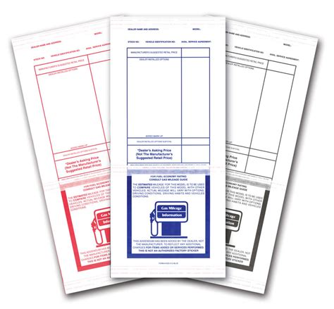 free bill of sale form for car stock addendum stickers tape adhesive buy now estampe