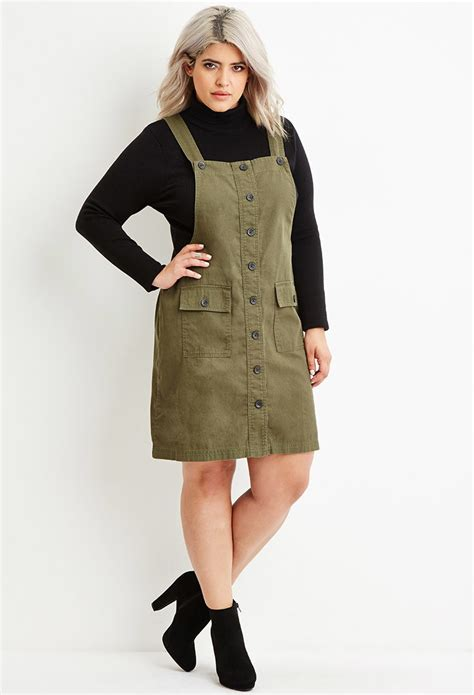 Forever 21 Plus Size Cargo Overall Dress in Green | Lyst