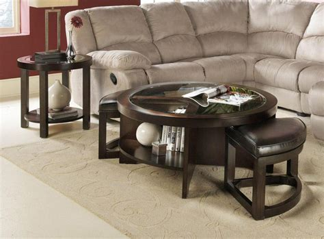 round coffee table with stools underneath coffee table