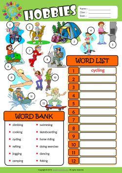 hobbies esl printable worksheets  kids